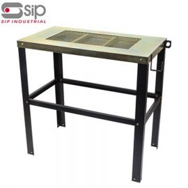 SIP steel cutting and welding table with U-hooks and spatter pan