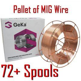 Pallet of 0.8mm Mild Steel MIG wire tonne 72 spools 15KG