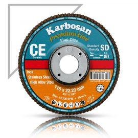 Karbosan Premium Line Ceramic 4.5 inch 115mm flap disc 80 grit front flaps